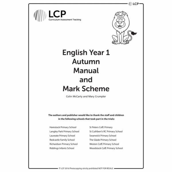 lcp english year 1 autumn manual mark scheme
