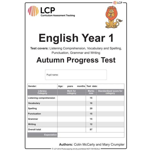 lcp english year 1 autumn progress test