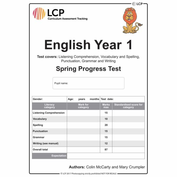 lcp english year 1 spring progress test