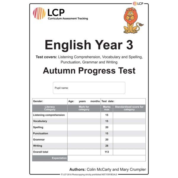 lcp english year 3 autumn progress test