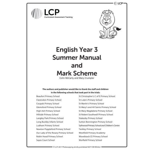 lcp english year 3 summer manual mark scheme