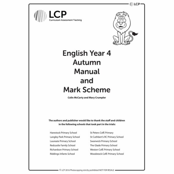 lcp english year 4 autumn manual mark scheme