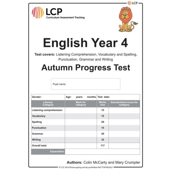 lcp english year 4 autumn progress test