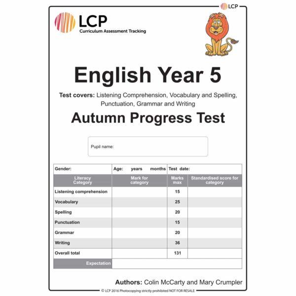 lcp english year 5 autumn progress test