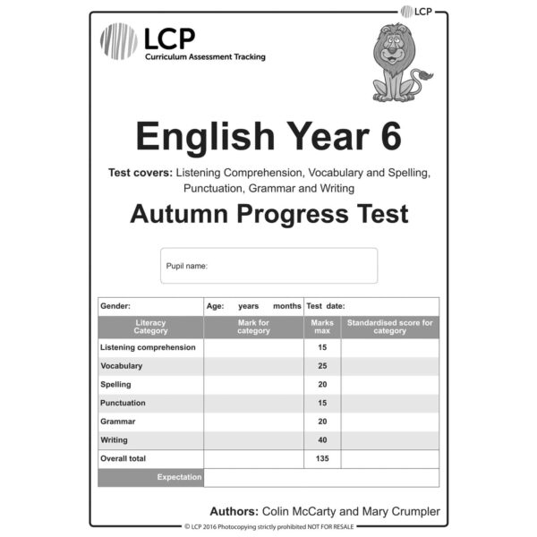 lcp english year 6 autumn progress test