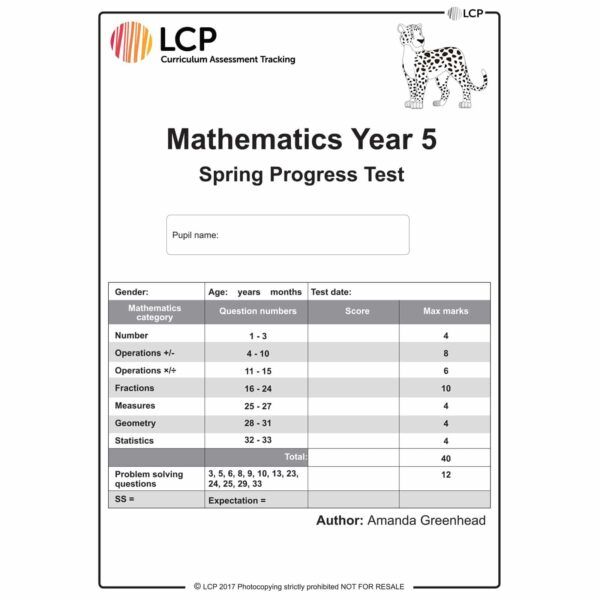 lcp mathematics year 5 spring progress test