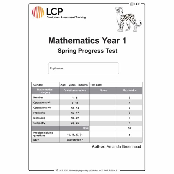 lcp mathematics year 1 spring progress test