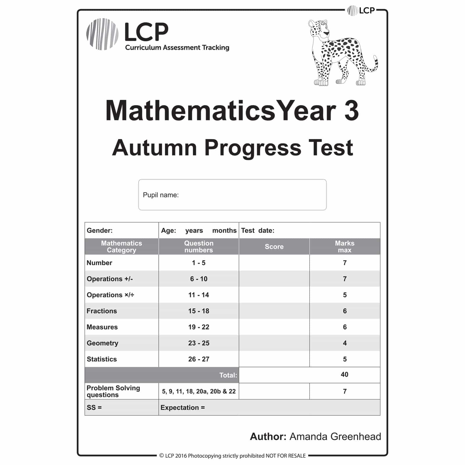 Maths AUTUMN Year 3 Class Pack of 30 papers - LCP