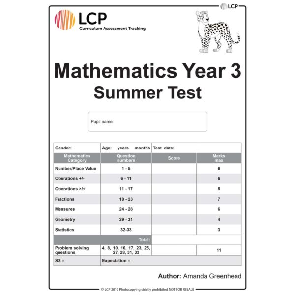 lcp mathematics year 3 summer test