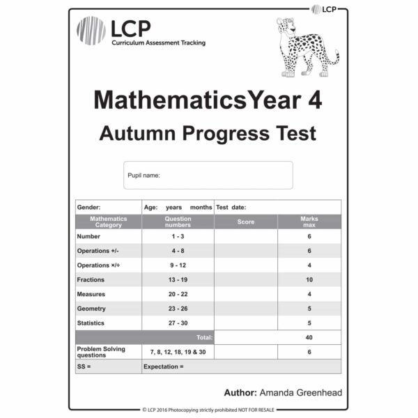 lcp mathematics year 4 autumn progress test
