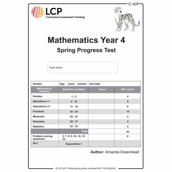 lcp mathematics year 4 spring progress test