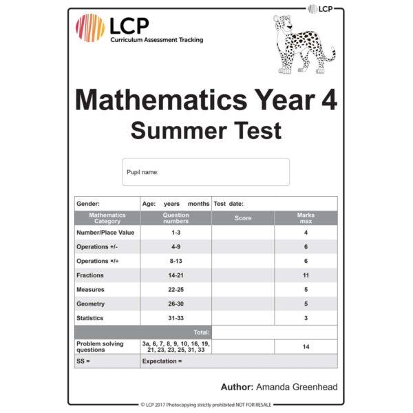lcp mathematics year 4 summer test