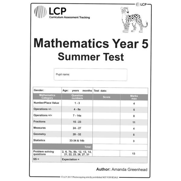 lcp mathematics year 5 summer test